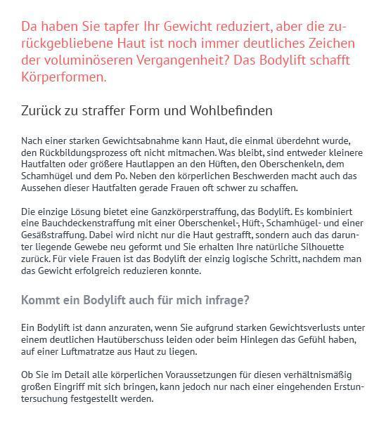 Bodylift nach Gewichtsverlust aus  Guntramsdorf
